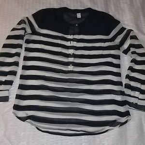 *REDUCED* Navy blue/Beige Striped Blouse
